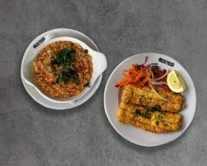 arroz tomate com filetes peixe espada